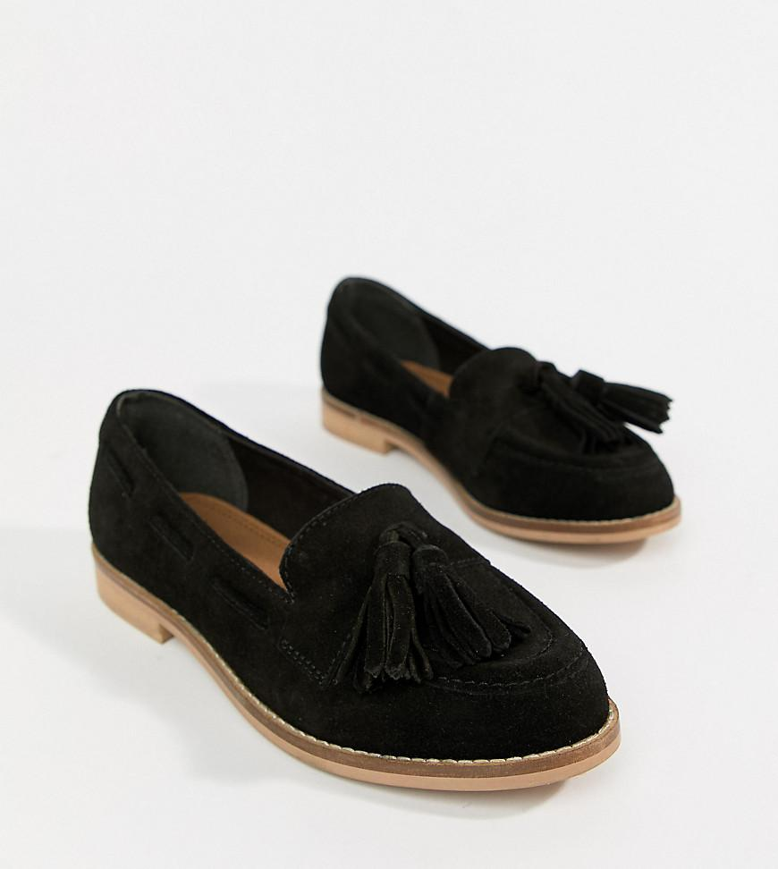 1559b818664 Lyst - ASOS Wide Fit Message Suede Tassel Loafers in Black - Save 41%