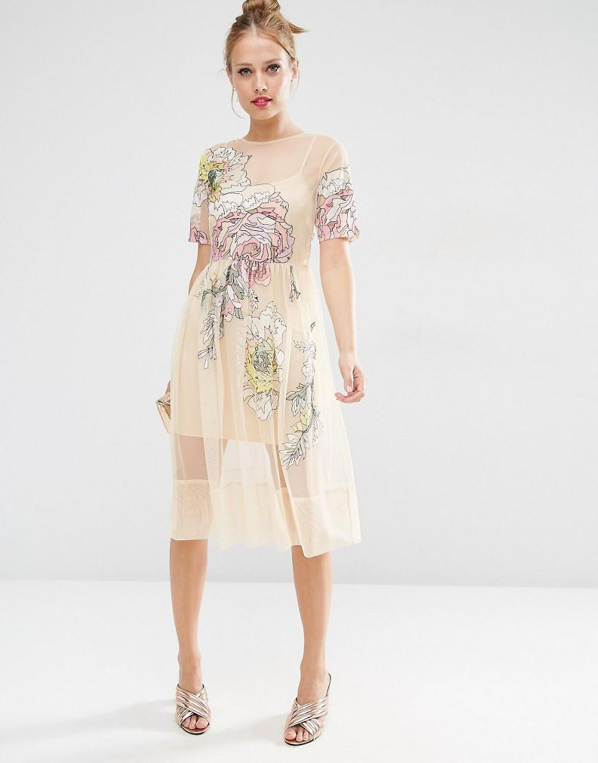 Asos Salon Embroidered Floral Mesh Midi Dress in Natural ...