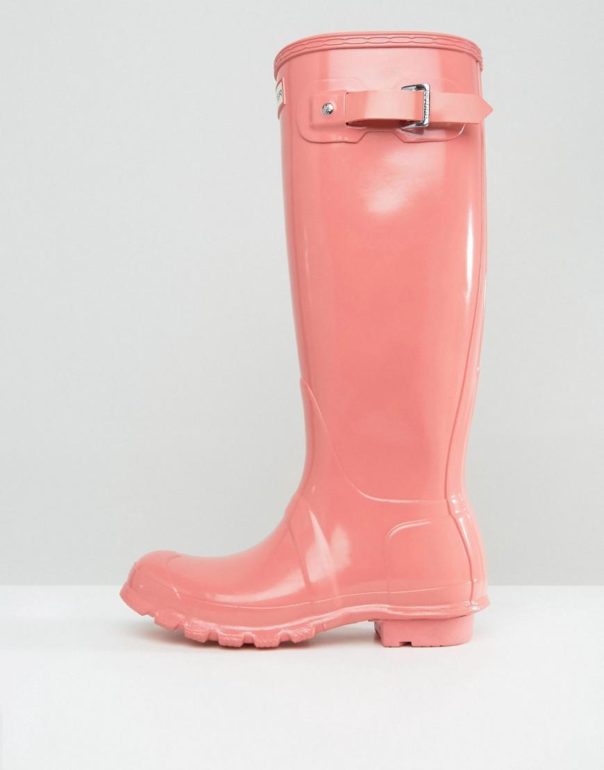 HUNTER Original Tall Gloss Pink Wellington Boots