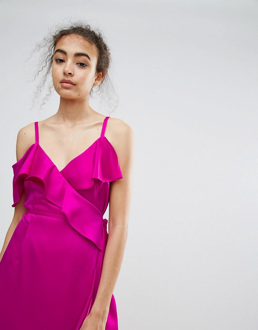 Lyst - Warehouse Occasion Ruffle Wrap Dress in Pink