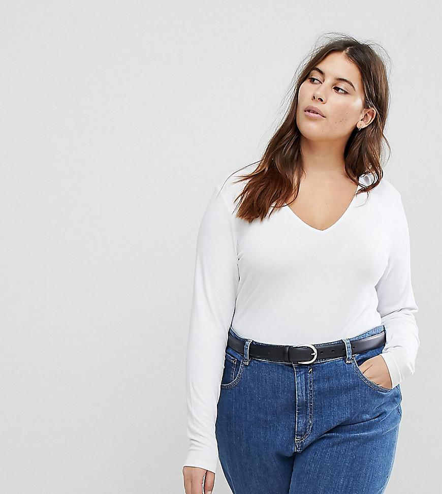 ASOS DESIGN Curve ultimate top with long sleeve and v-neck in white - White Asos Curve Good Service Free Shipping Best Place dYv95cs