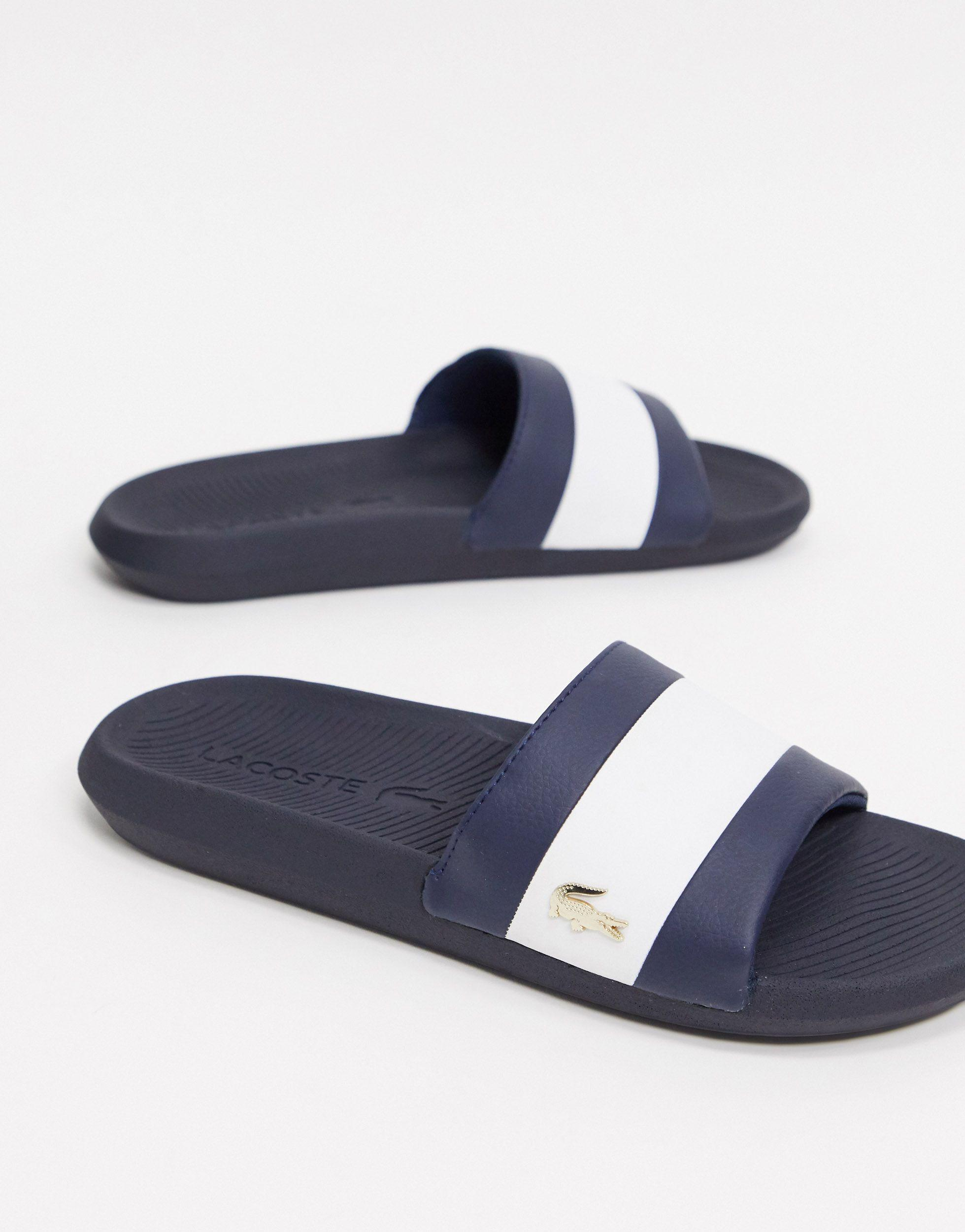 Lacoste Croco Sliders Navy With Gold