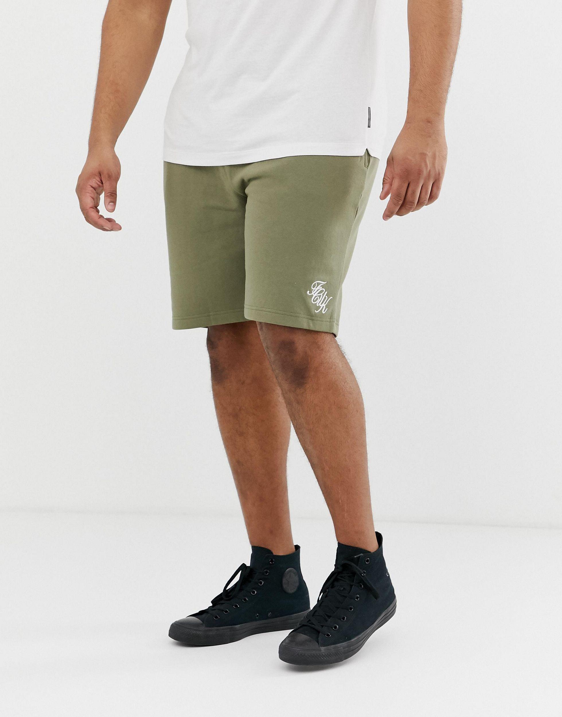 French Connection Katoen Plus - Jersey Short Met Logo in het Groen voor heren