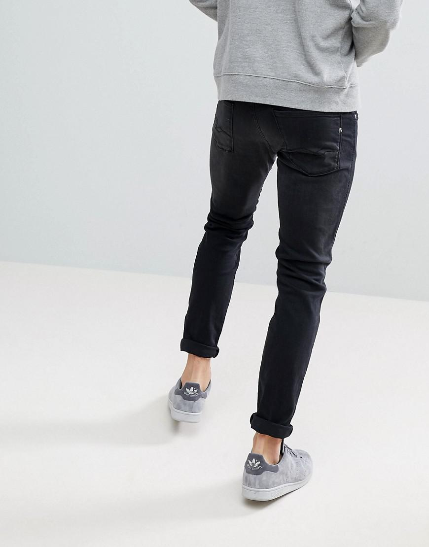 Replay Denim Anbass Slim Jeans Washed Black for Men