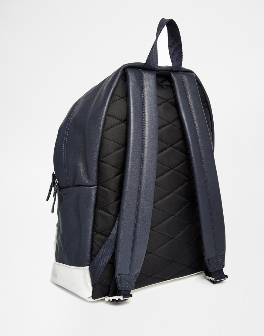 Leather Eastpak Backpack: Eastpak Padded Pak'r Leather Backpack With Metallic Detail