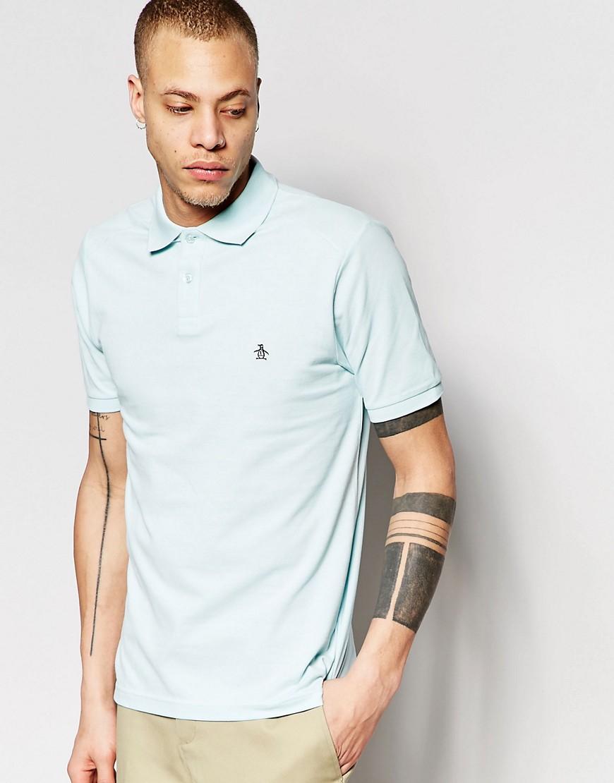 Lyst original penguin polo shirt in blue for men for Golf shirt with penguin logo