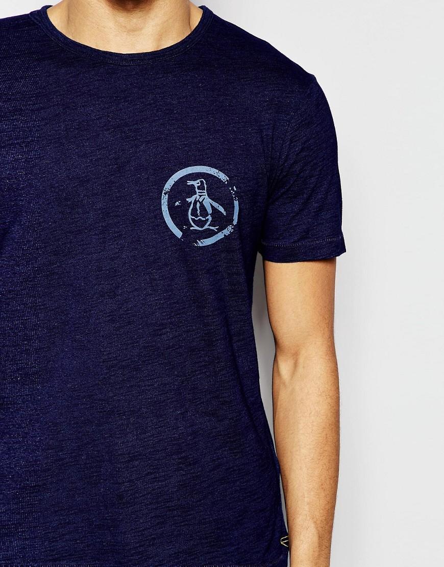 Lyst original penguin logo t shirt blue in blue for men for Golf shirt with penguin logo