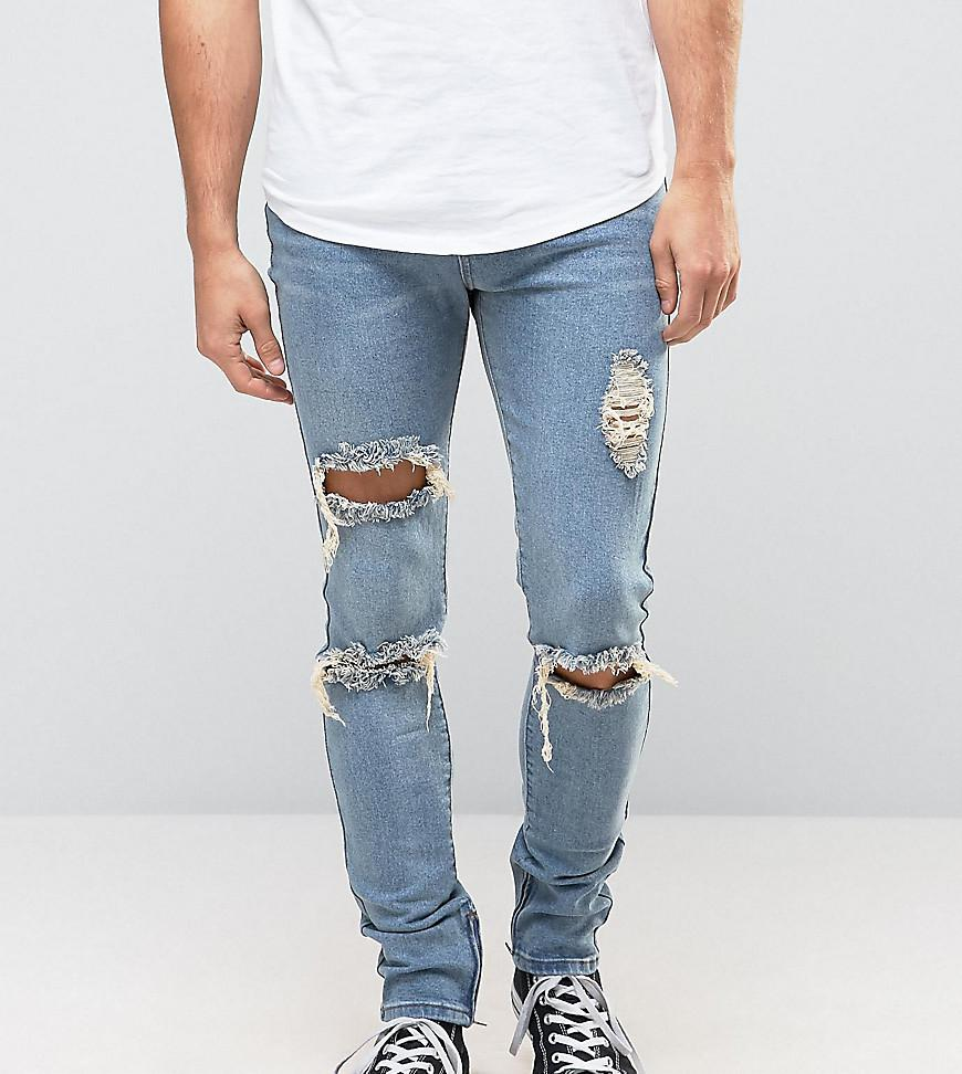 Skinny Jeans With Extreme Rips And Ankle Zips - Stonewash blue Liquor & Poker Clearance Geniue Stockist Free Shipping Geniue Stockist Discount 2018 Newest Extremely Cheap Online t4GqBLUY