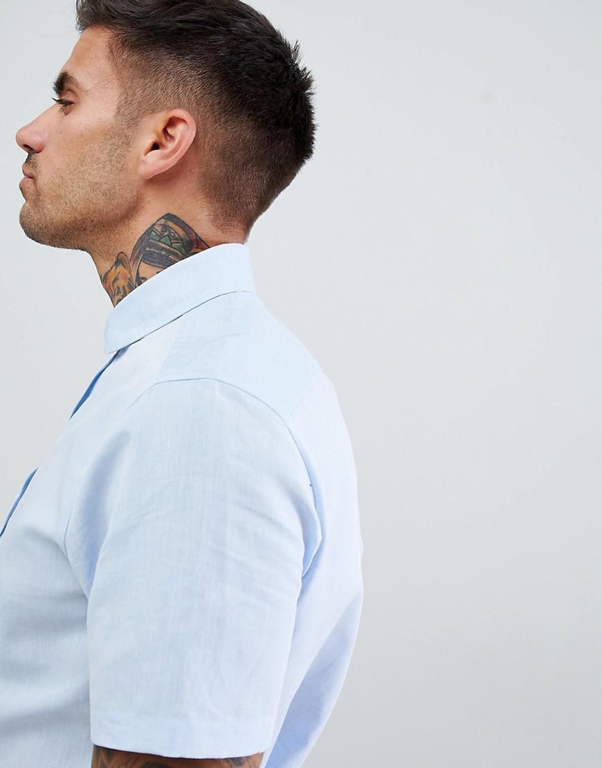 ASOS Linnen Wedding - Regular-fit Linnen Overhemd in het Blauw voor heren
