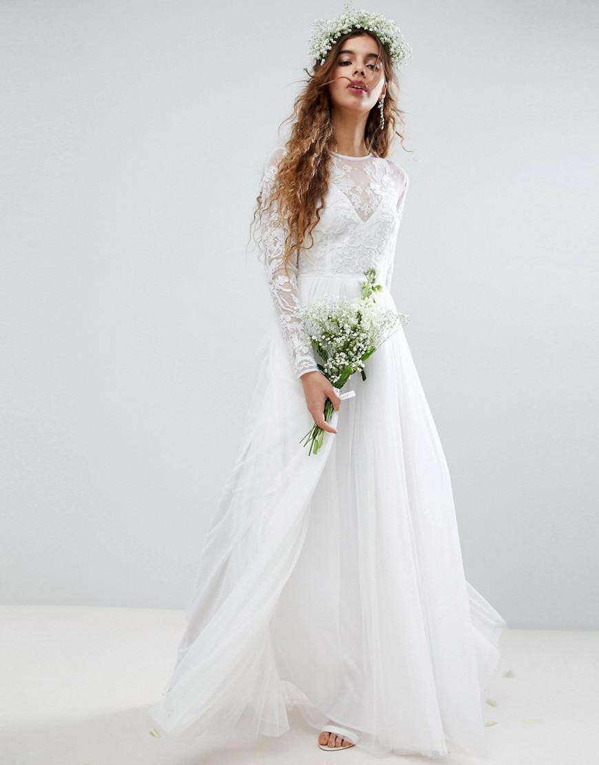 Asos Wedding Floral Embroidered Bodice Maxi Dress With ...