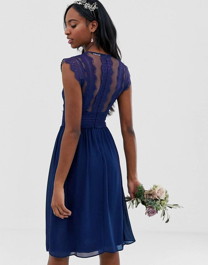 ea6eaf60f2 Lyst - TFNC London Lace Detail Midi Bridesmaid Dress In Navy in Blue