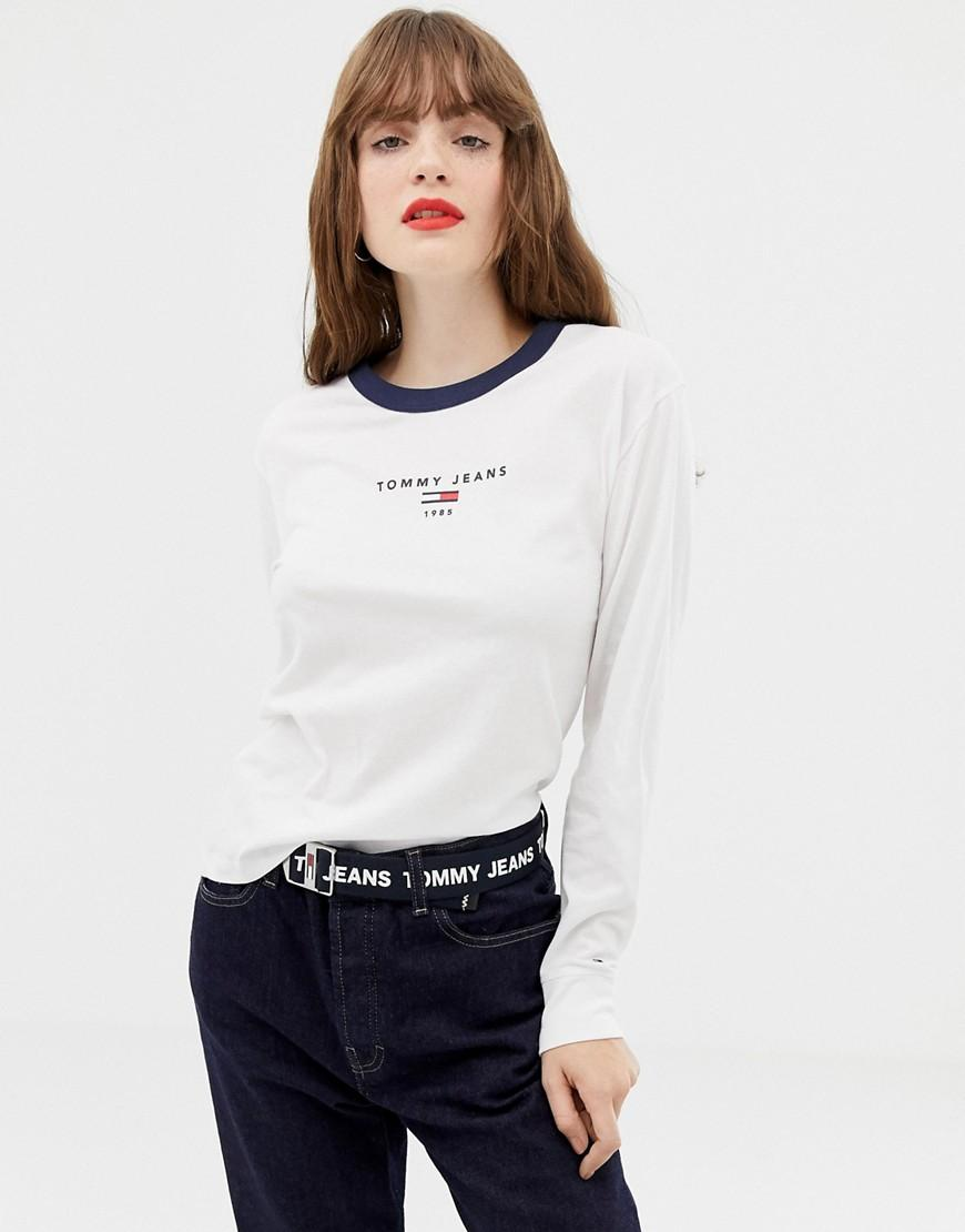 423cfb56 Tommy Hilfiger Logo Longsleeve T-shirt in White - Lyst