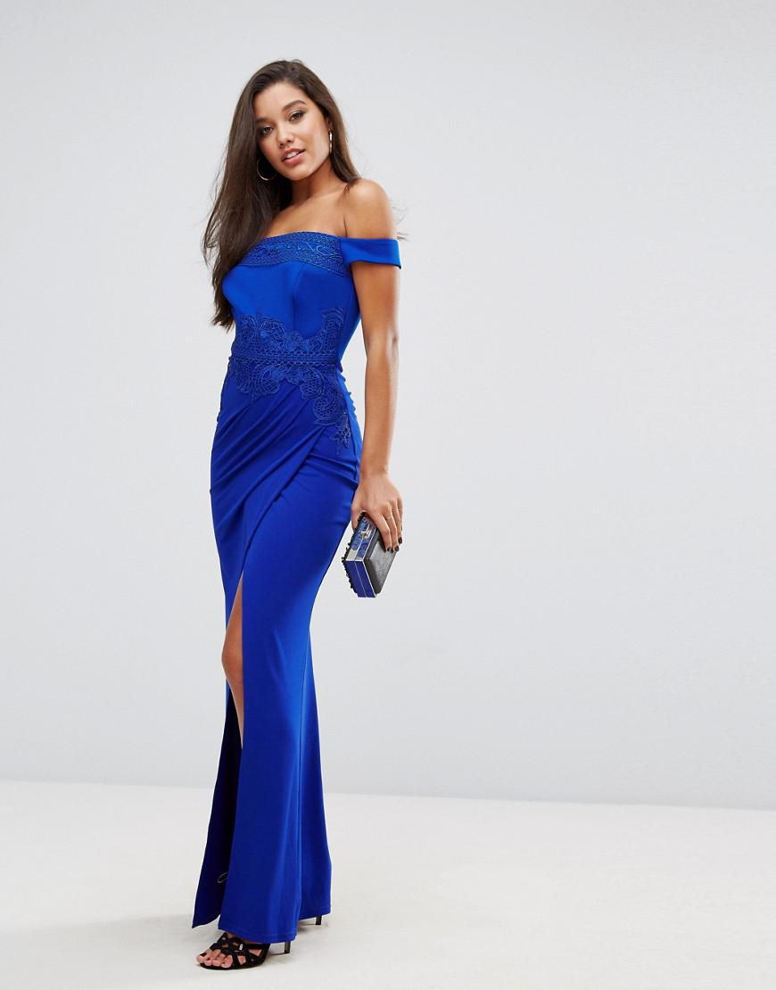 Lyst - Lipsy Off Shoulder Maxi Dress With Lace Trim in Blue 95e4d3be0cc4
