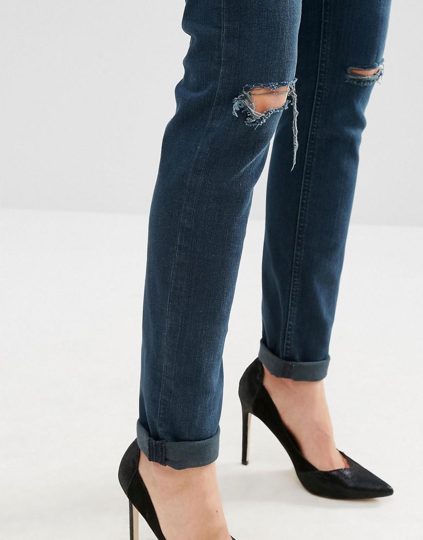 ASOS Denim Kimmi Shrunken Boyfriend Jeans In Grace Dark Stonewash With Rips in Blue