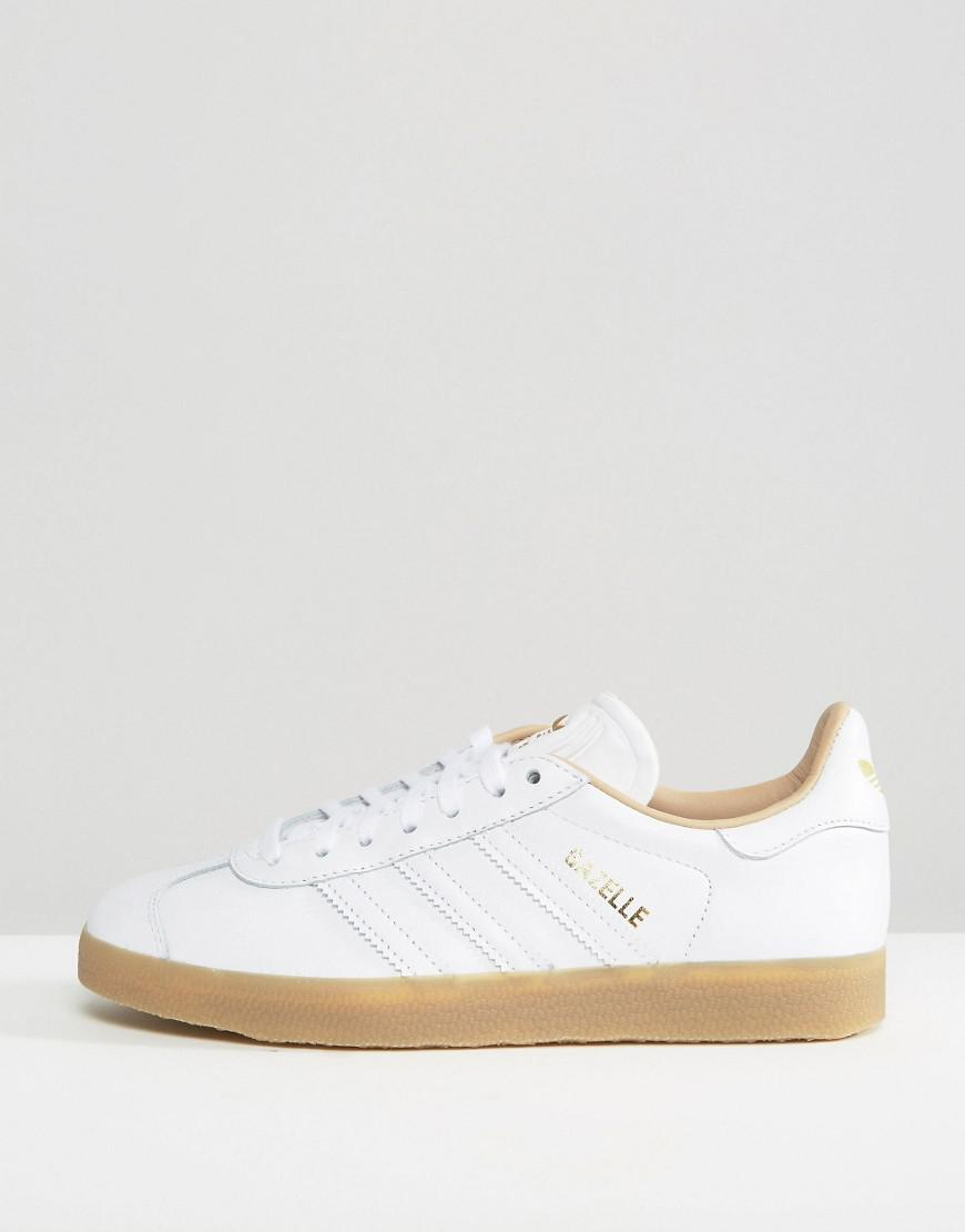 Originals White Leather Gazelle Sneakers With Gum Sole