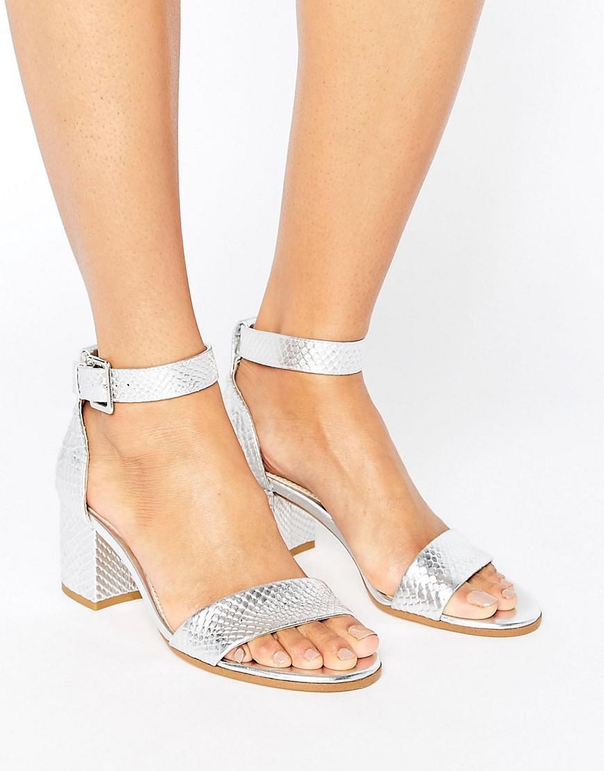 7586a1281541 Lyst - Dune Jaygo Two Part Block Heel Metallic Sandal in Metallic