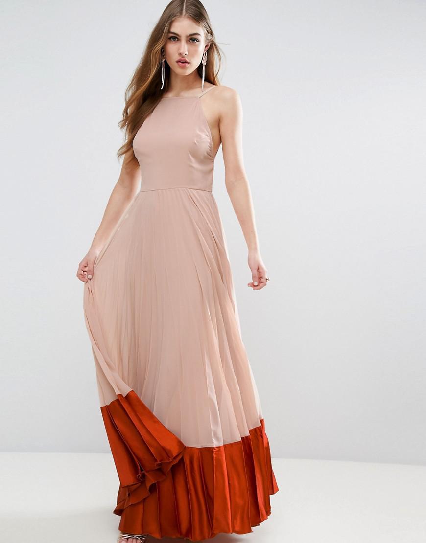 Lyst - Asos Pleated Paneled Satin Maxi Dress