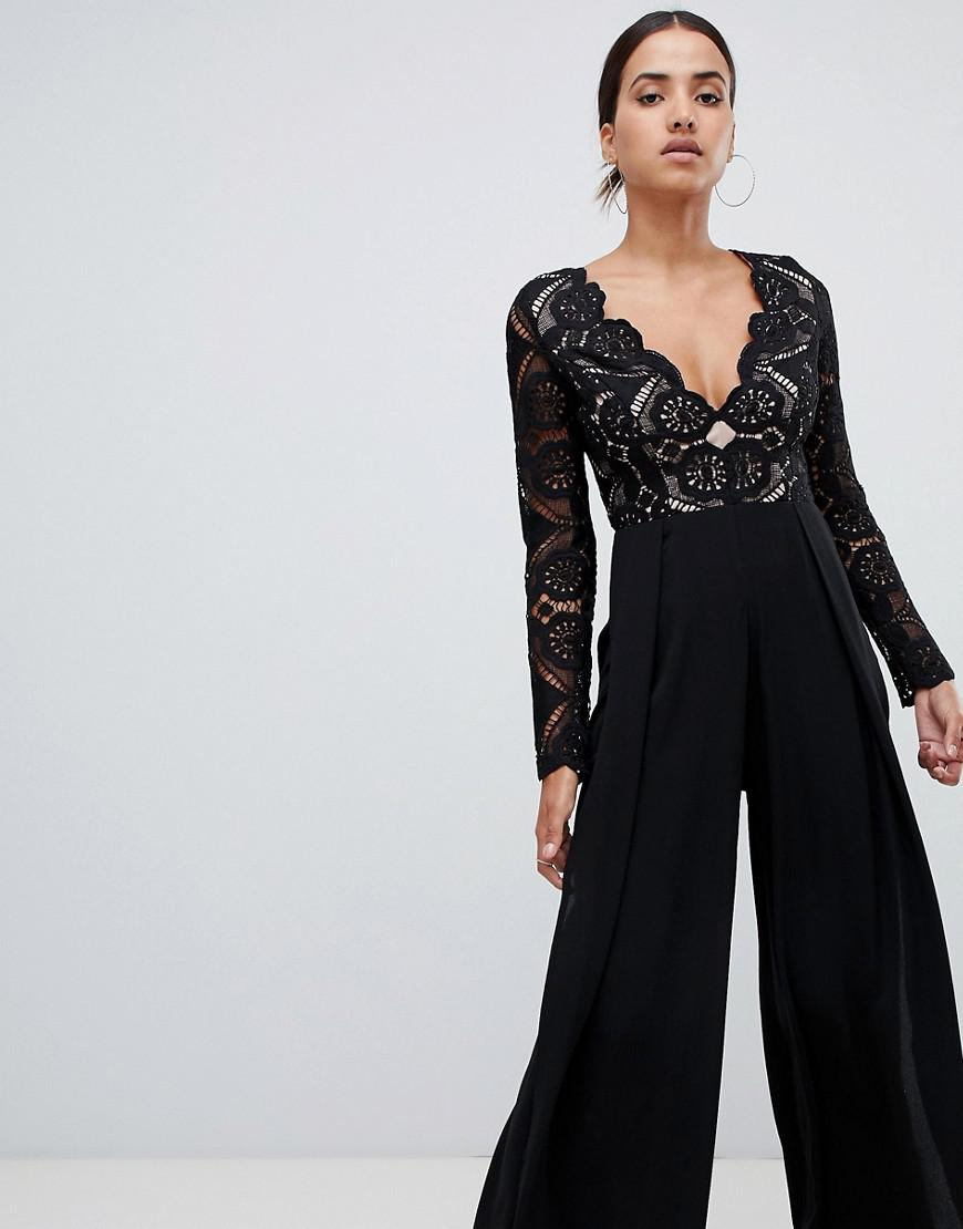 187a020d0c5 Love Triangle. Women s All Over Cut Work Lace Top Wide Leg Split Jumpsuit  In Black