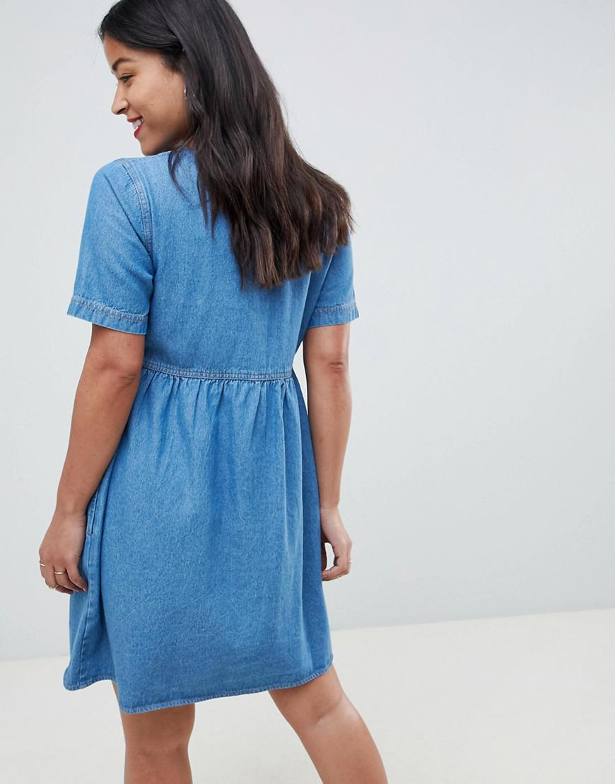 b3c02a6f6f ASOS Asos Design Maternity Denim Smock Dress In Midwash in Blue - Lyst