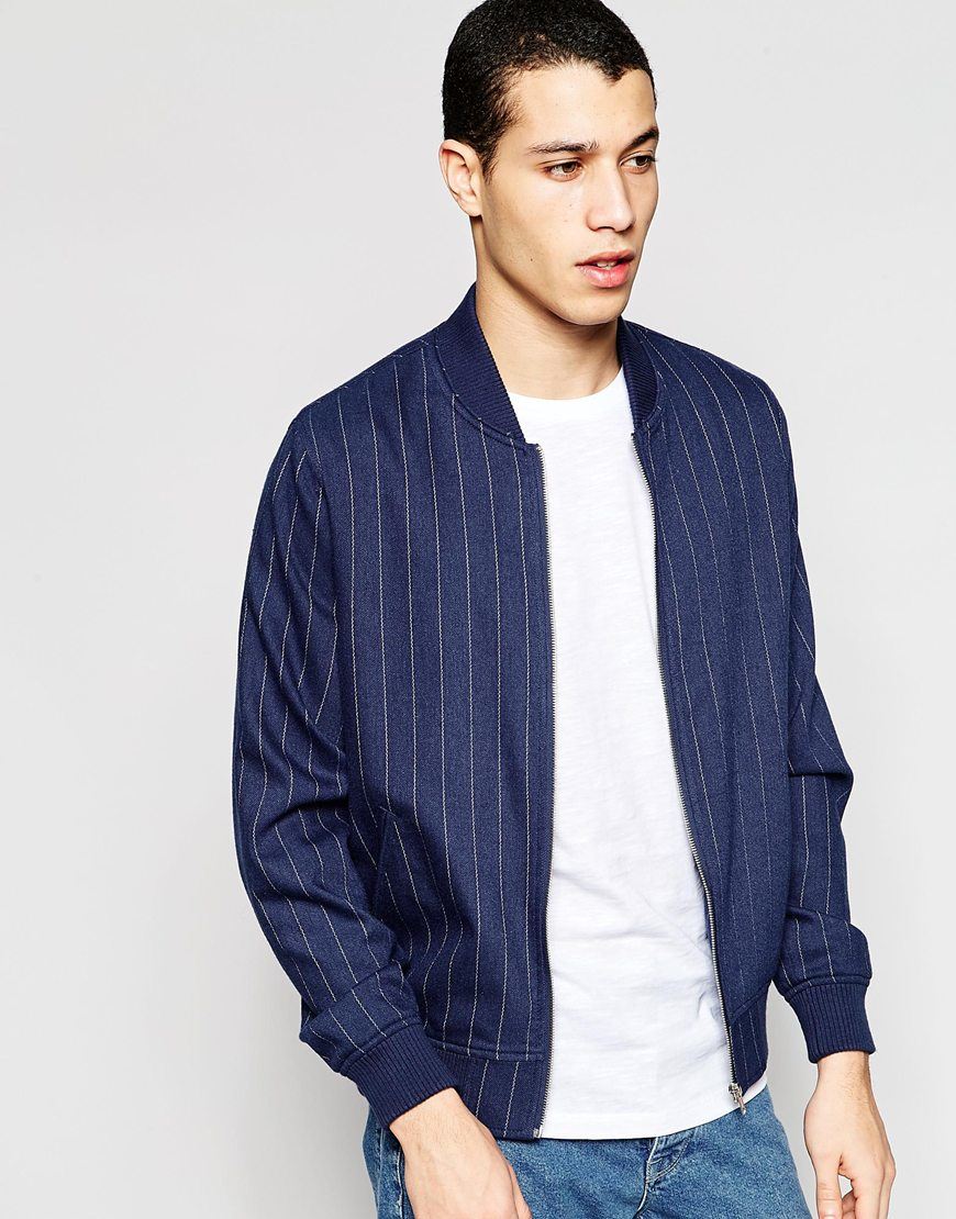 Asos Wool Mix Pinstripe Bomber Jacket In Blue in Blue for ...