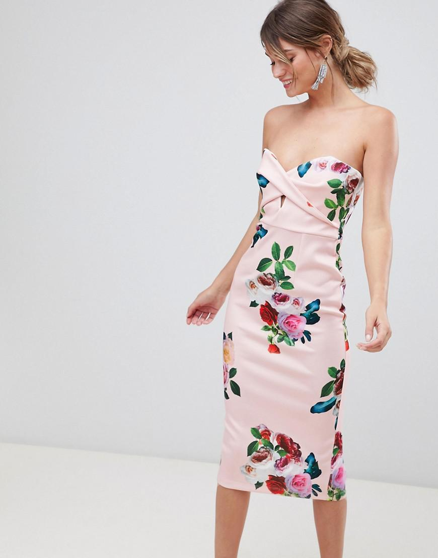 23992db712 ASOS. Women s Floral Twist Front Scuba Bodycon Midi Dress