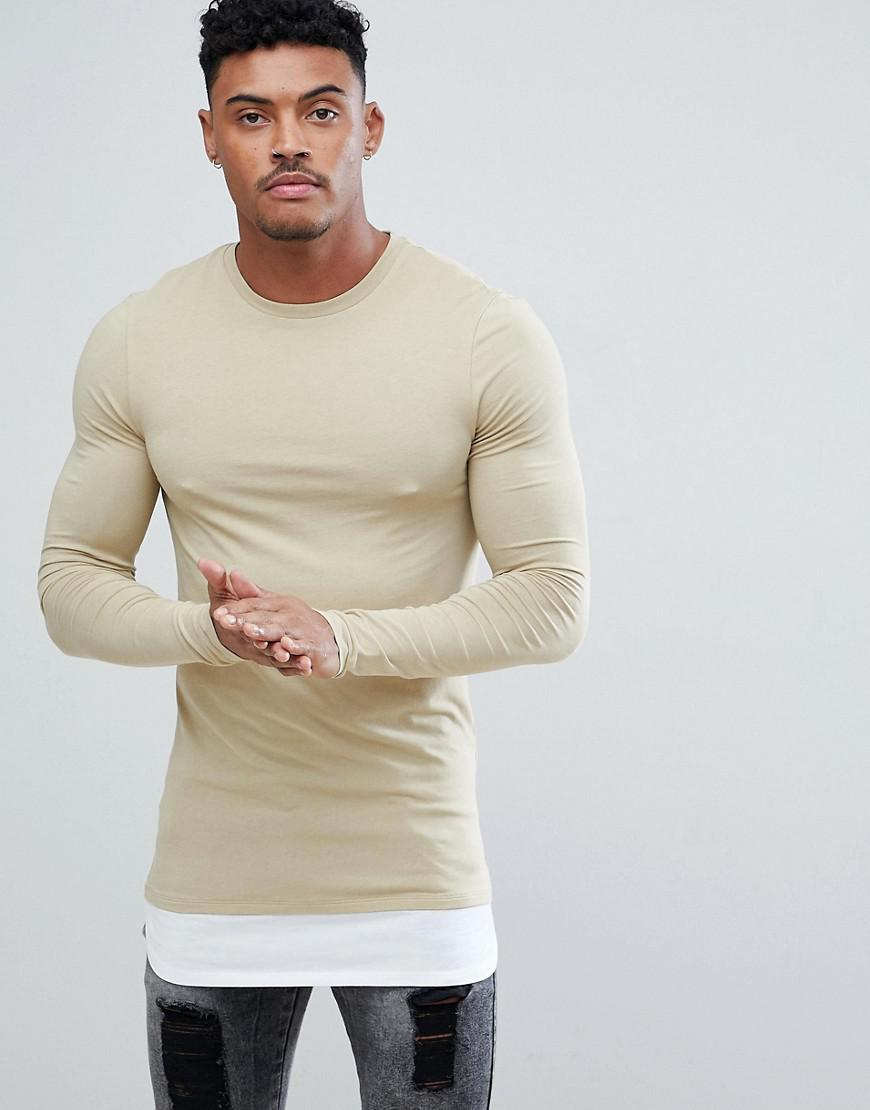 a1d209ac ASOS. Men's Natural Longline Long Sleeve Muscle Fit T-shirt With Crew Neck  With Contrast Hem Extender ...