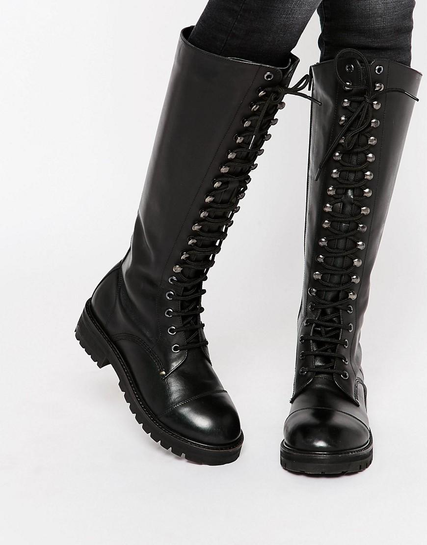 Lyst Park Lane Lace Up Chunky Leather Knee Boots In Black