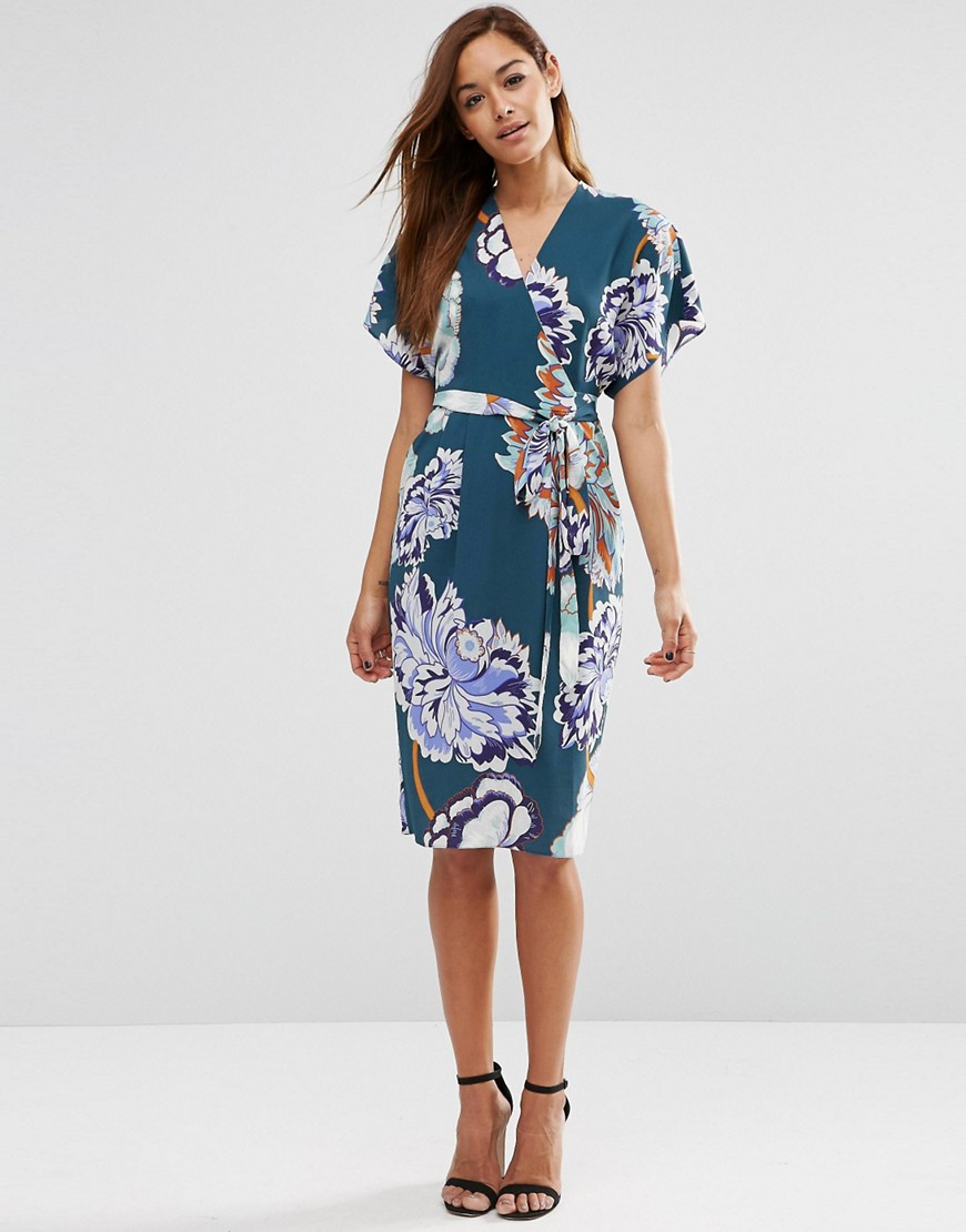 Asos Floral Obi Wrap Dress In Green Lyst