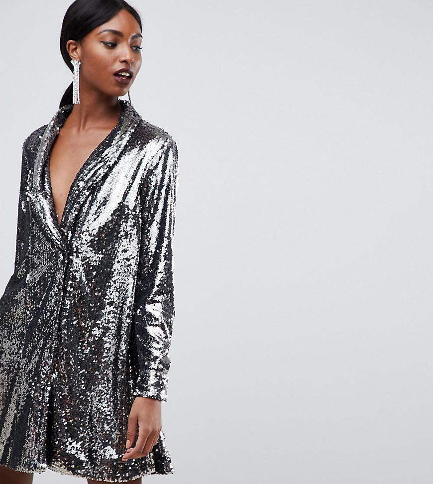 f1786ff0ec582 ASOS Asos Design Tall Sequin Tux Dress With Pleat Detail in Metallic ...