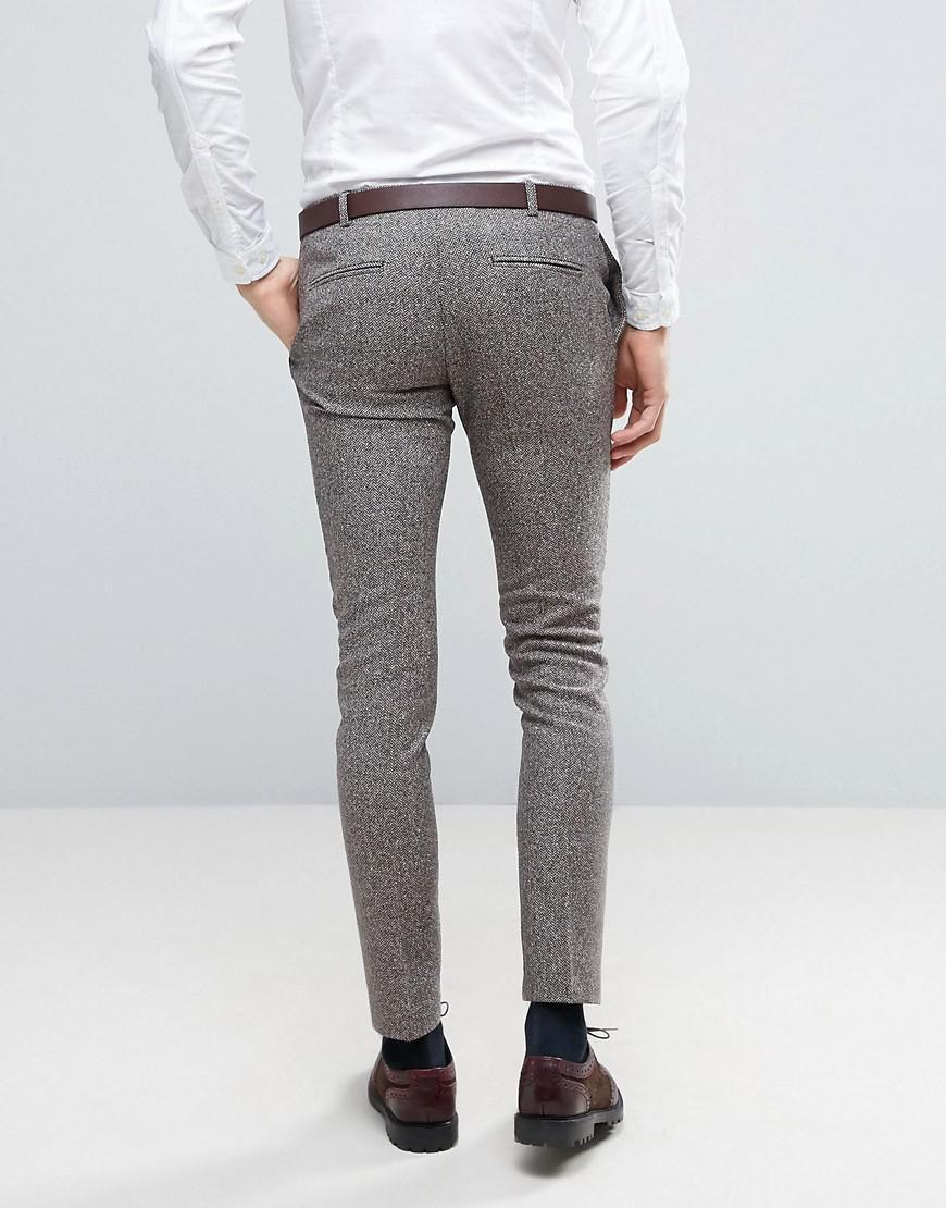 8c4f4f77ef Heart & Dagger Brown Super Skinny Trousers In Herringbone Fleck Tweed for  men