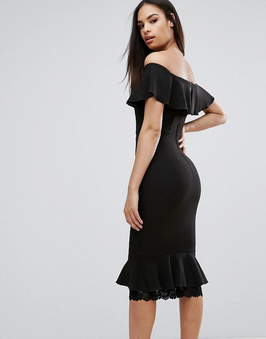 9b5874df0aa4 Vesper Off Shoulder Frill Pencil Dress With Lace Insert in Black - Lyst