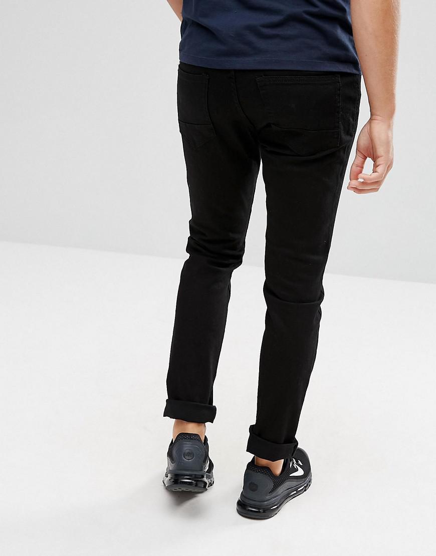 Pull&Bear Denim Slim Jeans In Black for Men