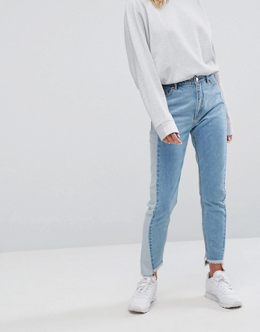 Monki Women/'s Black Kimomo Step Hem Jeans  All Sizes.