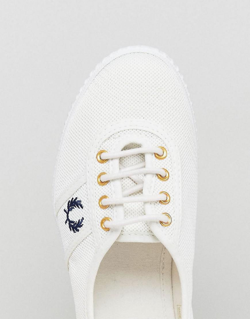 Fred Perry Canvas Aubrey Mesh Trainer in White