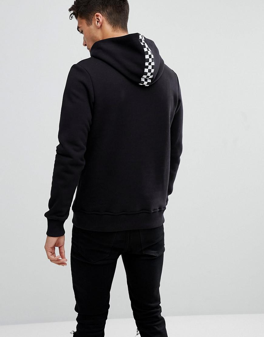 Lyst - Jack   Jones Originals Hoodie With Checkerboard Hood Detail in Black  for Men 6b17c3759