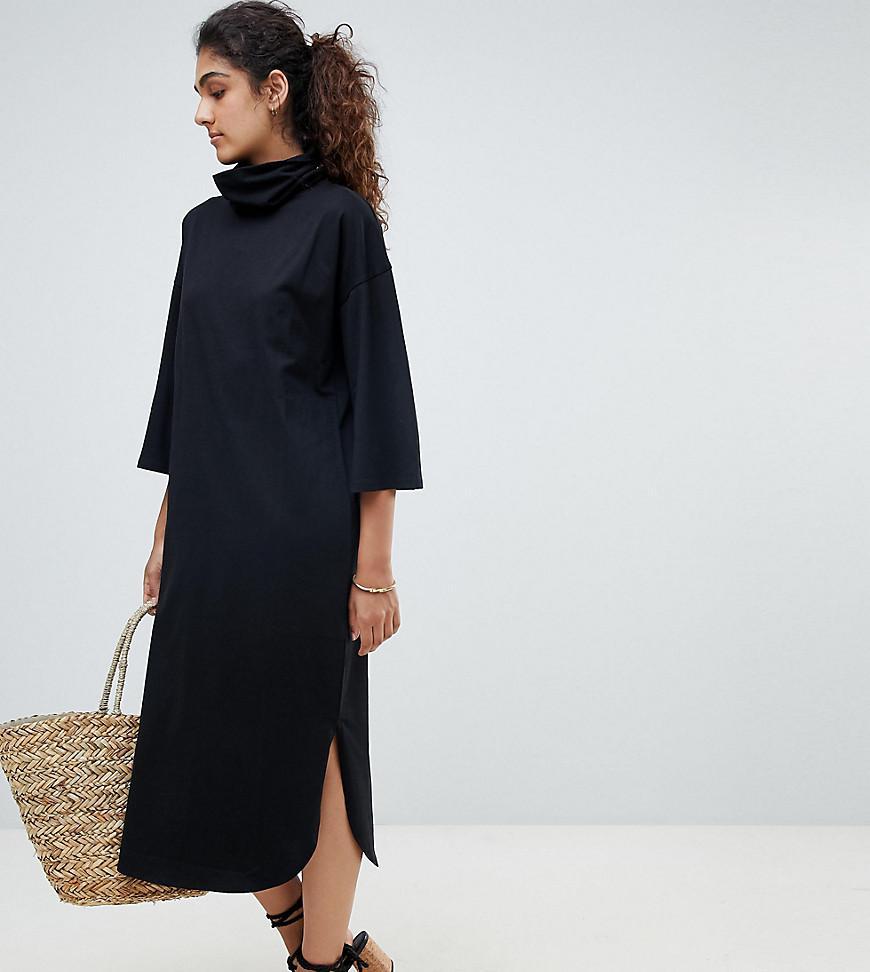2a1a79278e0 ASOS. Women s Black Asos Design Tall High Neck Midi Swing Dress With  Trumpet Sleeves