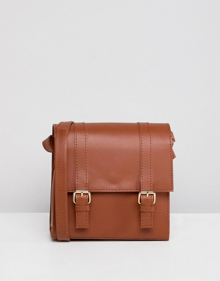 dcfb2e939d8 Asos Structured Leather Mini Satchel Bag in Brown - Lyst