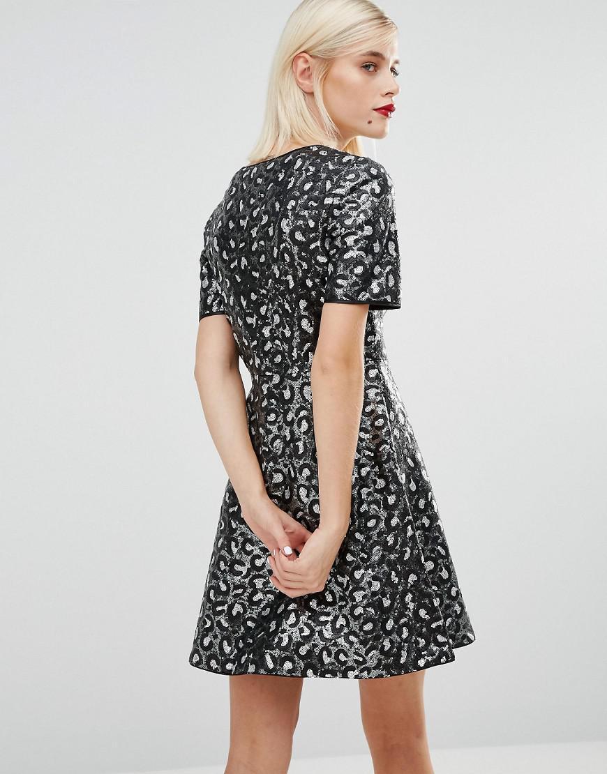4c5b3eb413 Lyst - Love Moschino Sequin Leopard Skater Dress in Black