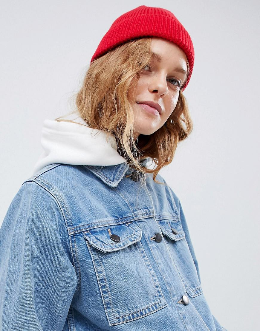 b6313e577 ASOS Fisherman Rib Beanie In Recycled Polyester in Red - Lyst