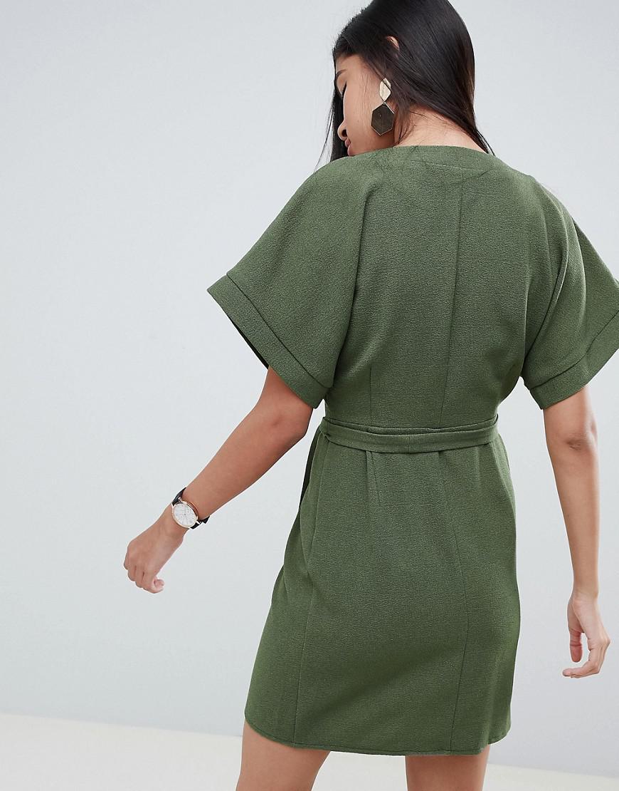 Robe courte cache-cœur Jean ASOS en coloris Vert