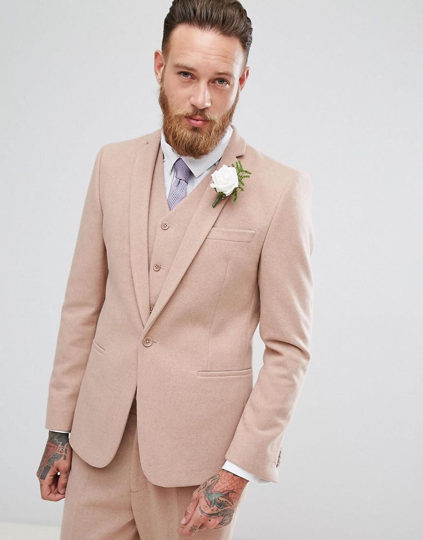 Lyst - Asos Wedding Skinny Suit Jacket In Light Pink Wool Mix in ...