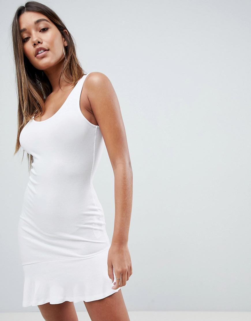 DESIGN mini vest dress with scoop back and asymmetric frill hem - White Asos mIigScpV