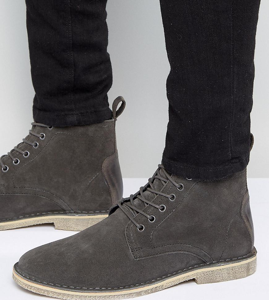 lyst asos design wide fit desert boots in gray suede with leather
