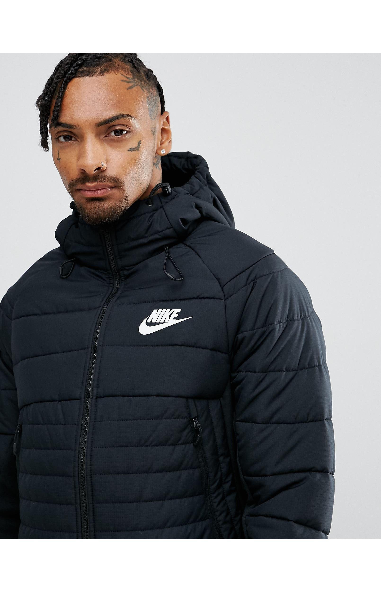 alias Serafín llamar  Nike Synthetic Av15 Padded Jacket With Hood in Black for Men - Lyst