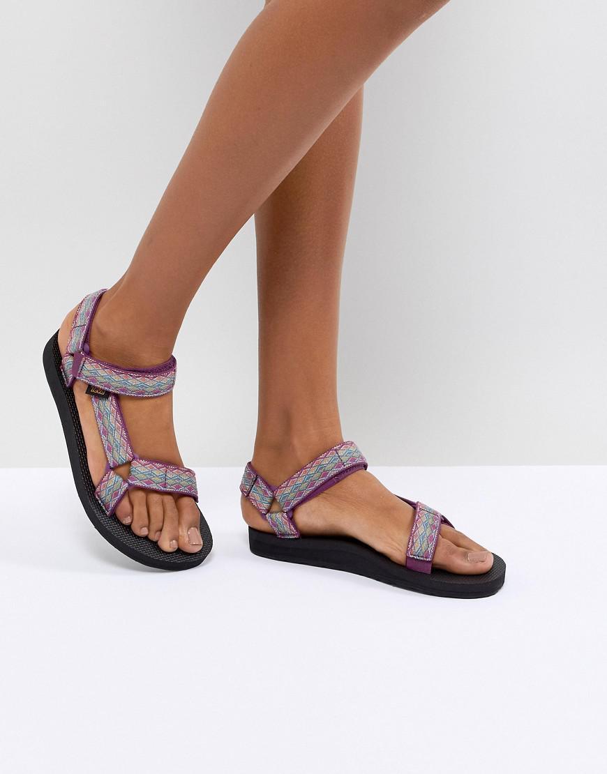 Teva Womens Purple Print Original Universal Flat Sandals
