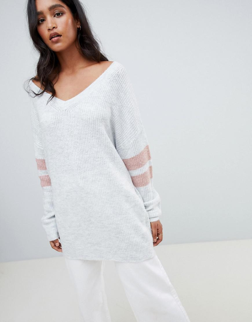 cebcd05977 Micha Lounge Oversized Jumper With Stripe Sleeve Detail in Gray - Lyst