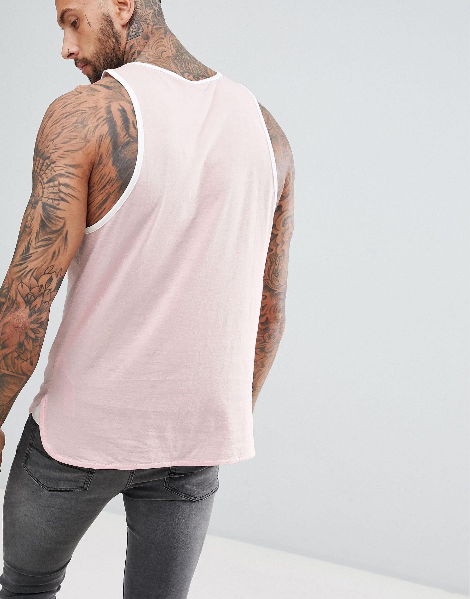 ASOS Lang Skaterhemd Met Contrasterende Bies in het Roze voor heren