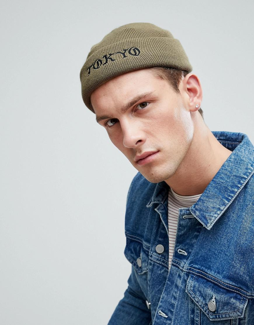 f69ec1987 ASOS Mini Fisherman Beanie In Green With Tokyo Embroidery for men