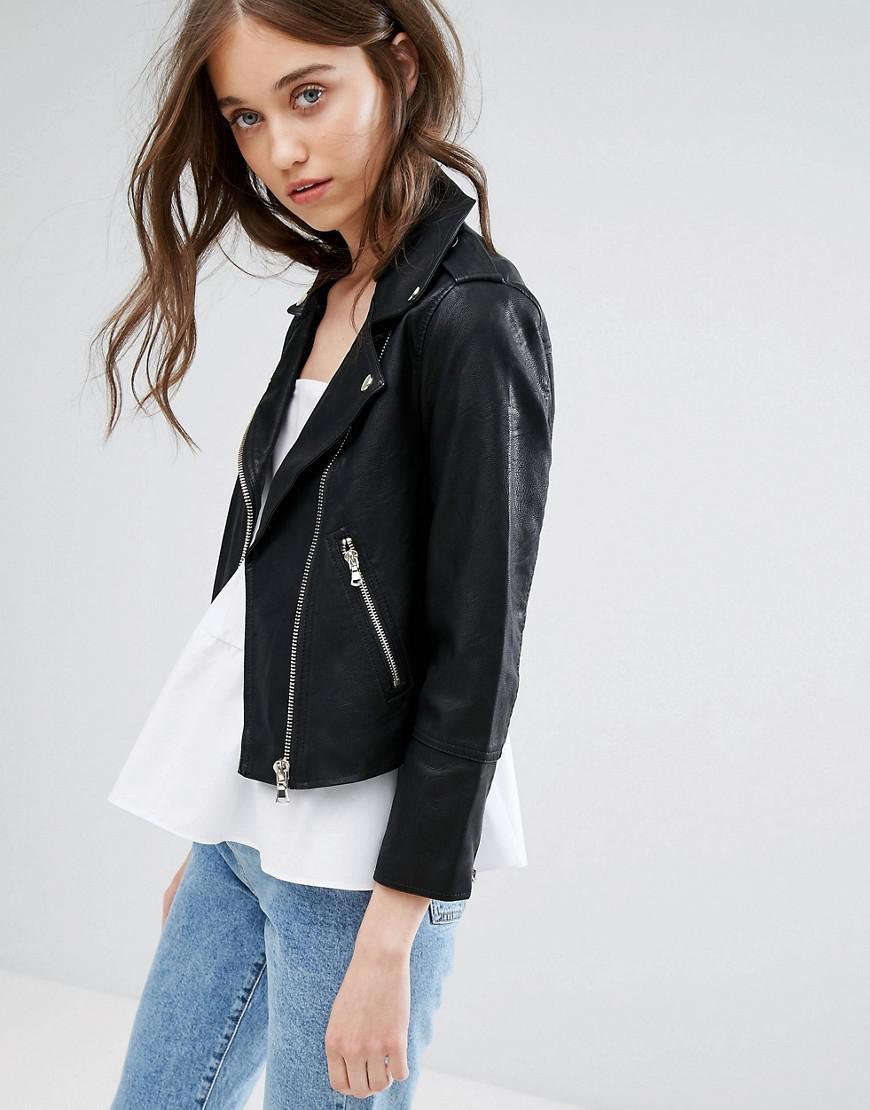 66313da31 Miss Selfridge Black Cropped Leather Look Jacket