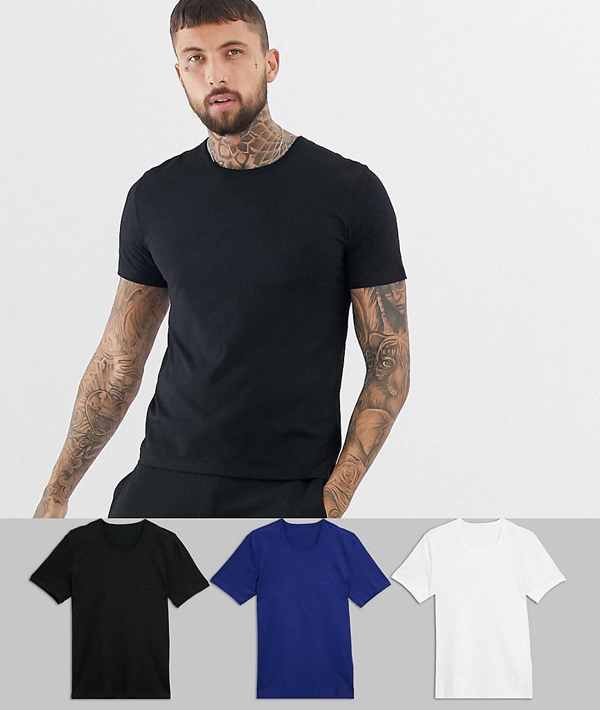 05830d73f BOSS Bodywear 3 Pack T-shirts in Black for Men - Lyst